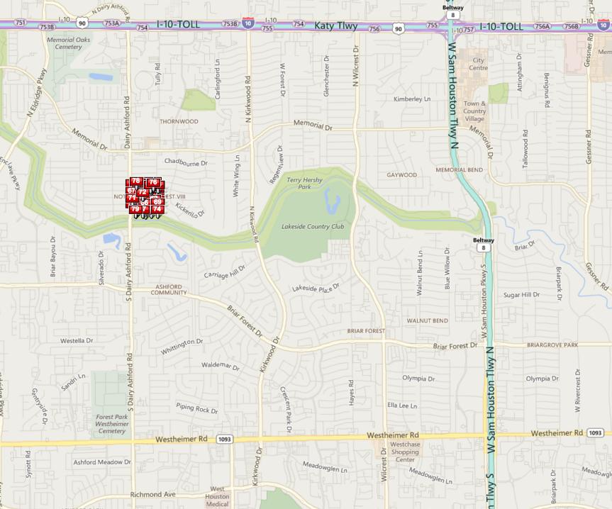 Ashford Forest Houston map