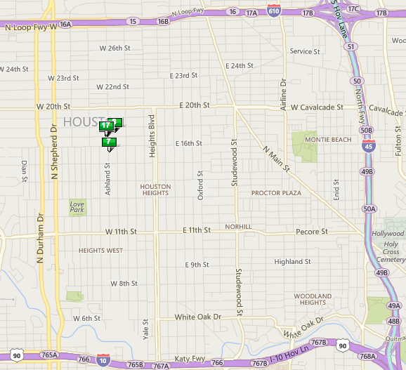 Bell Heights Houston map