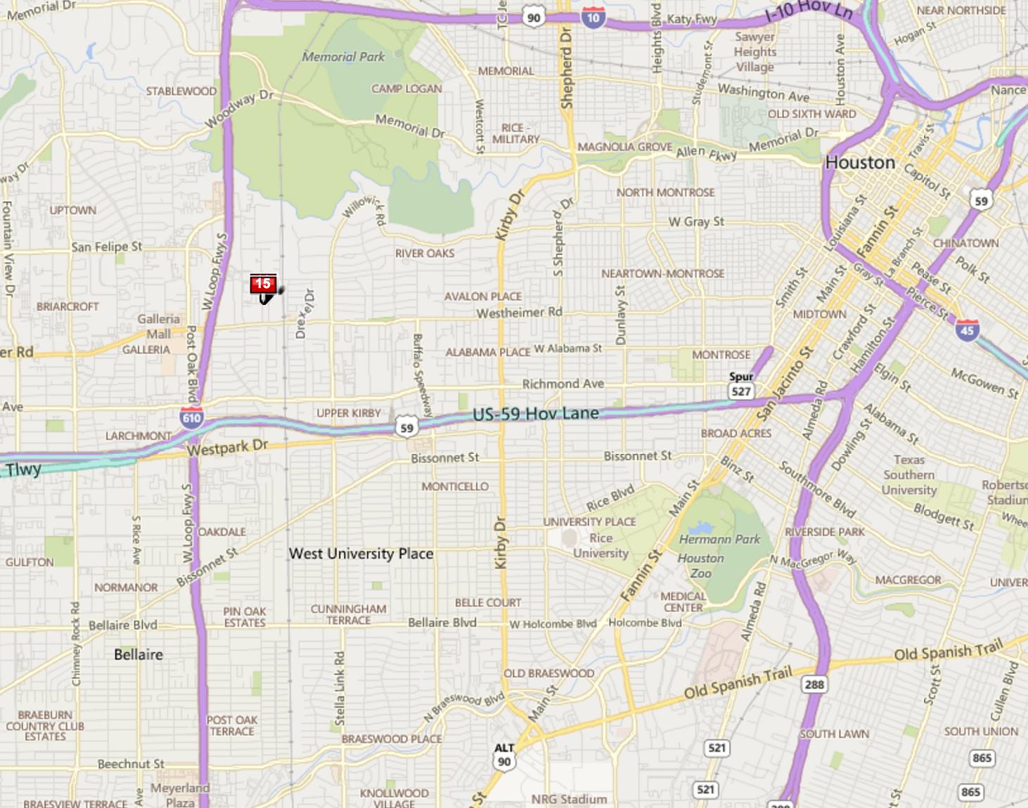 Briarglen Commons Houston map