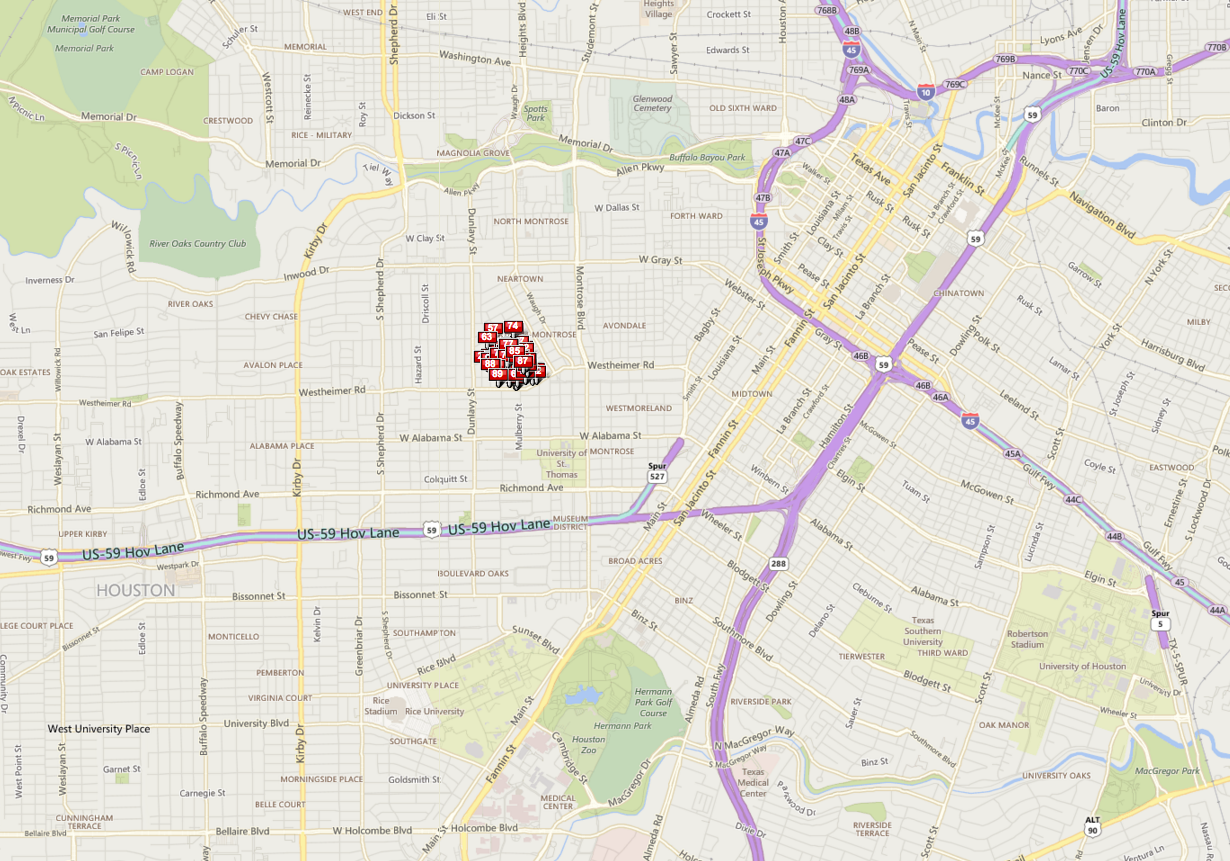 Cherryhurst Houston map