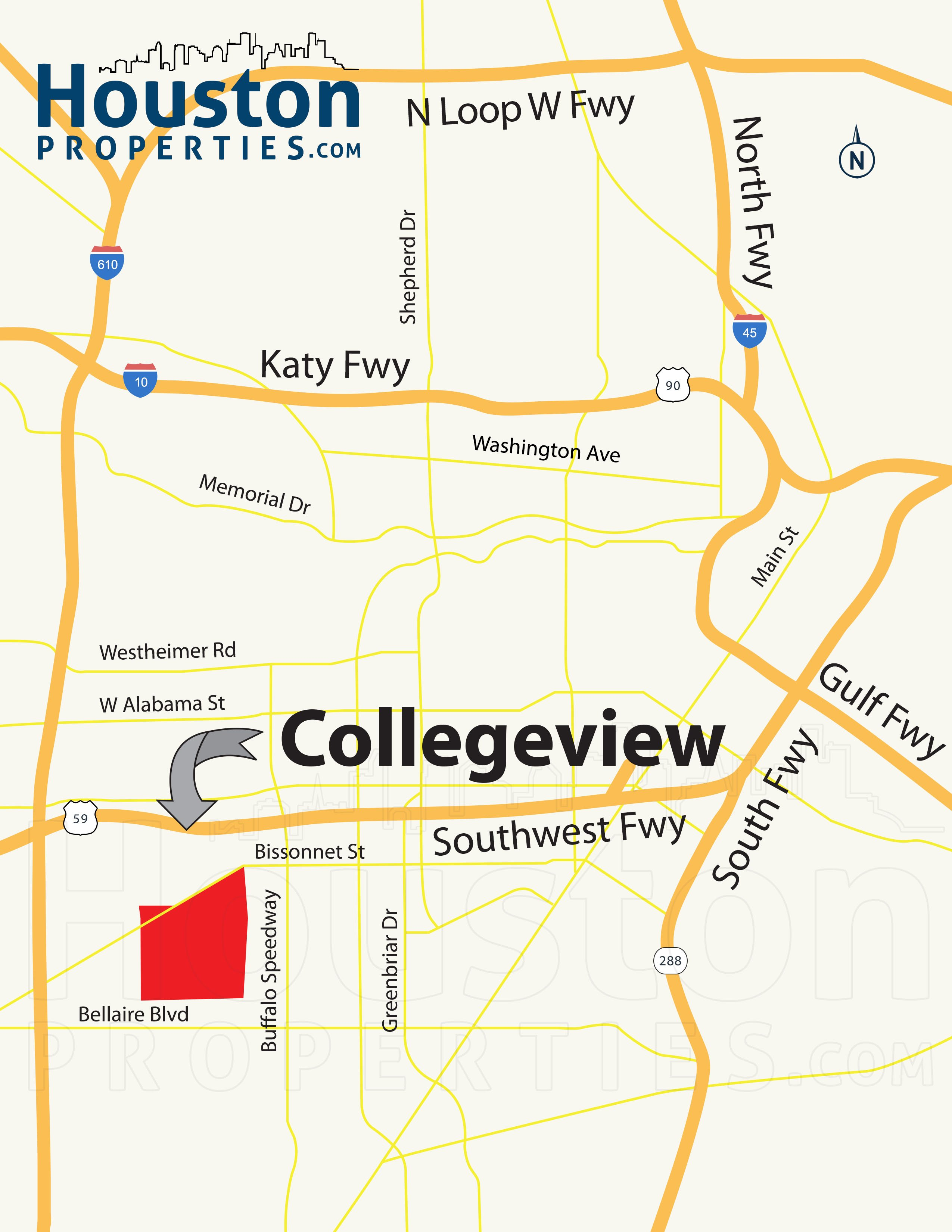 Collegeview Houston map