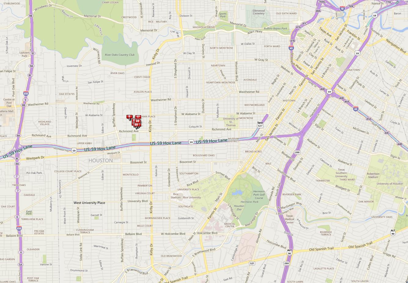 Rustling Oaks Houston map