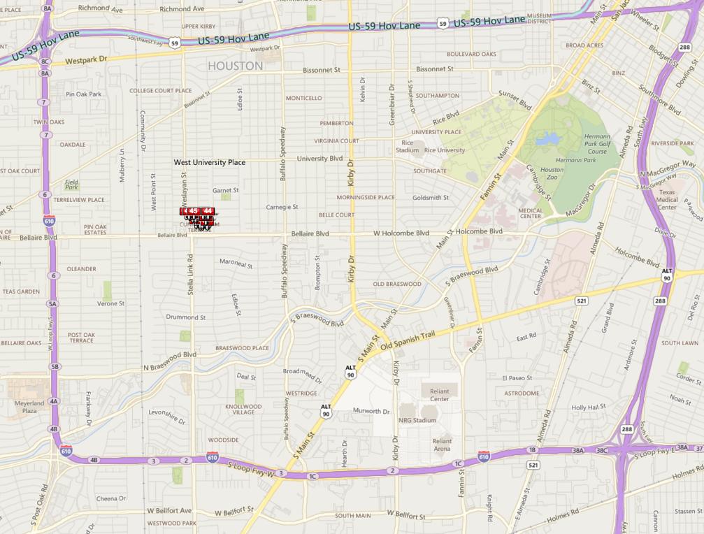 Cunningham Terrace Houston neighborhood map