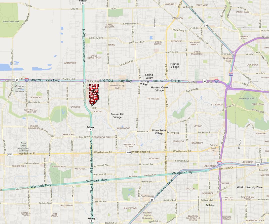 Fonn Villas Houston map