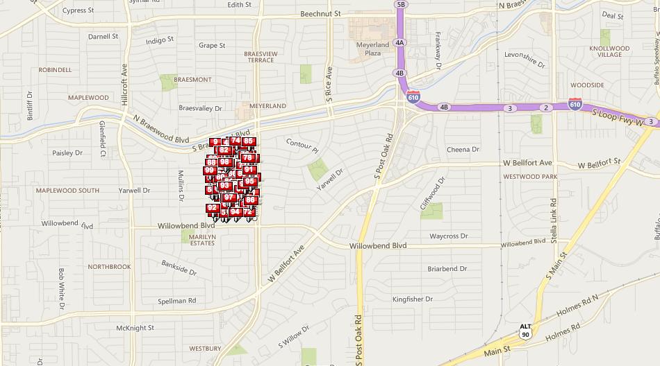 Marilyn Estates Houston Map