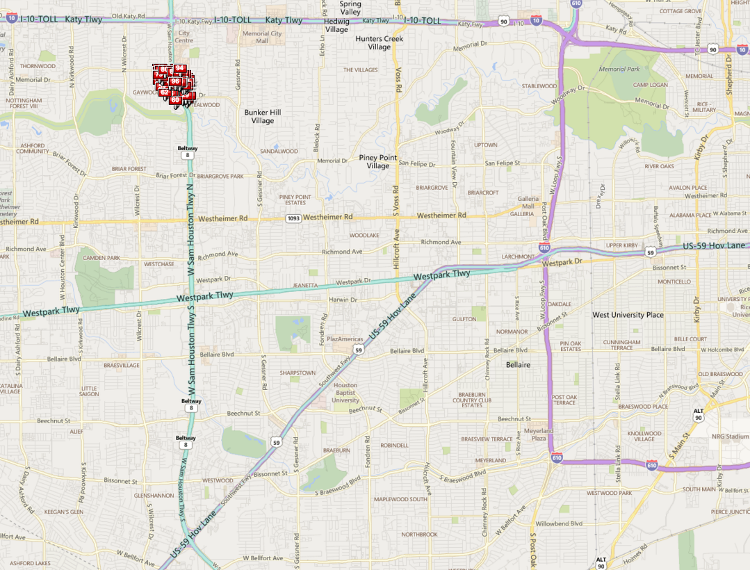 Memorial Bend Houston map