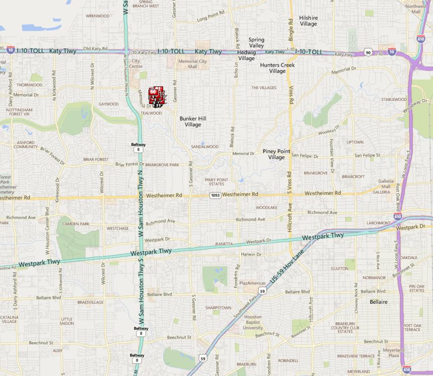 Memorial Pines Houston map