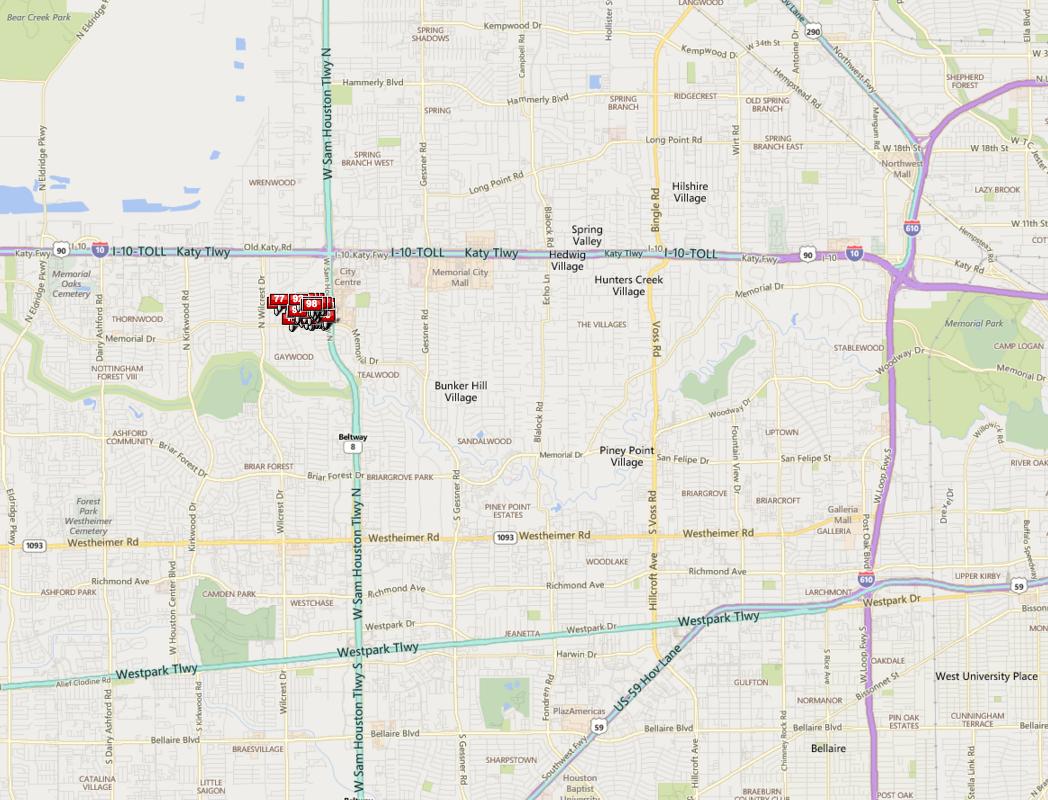 Memorial Plaza Houston map