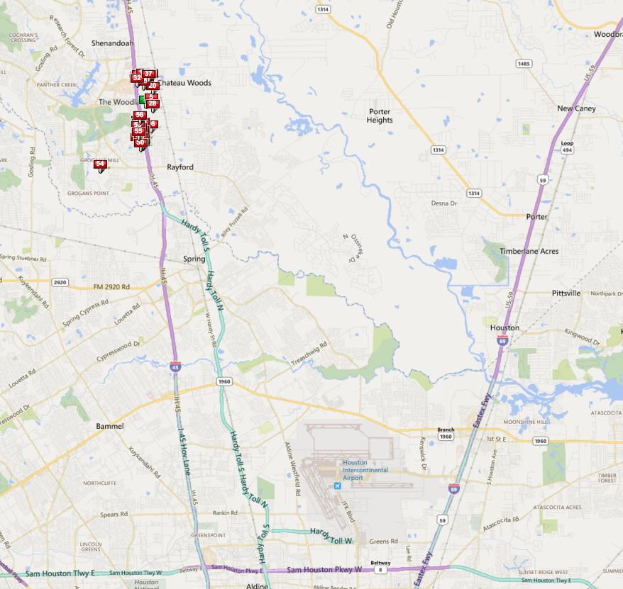 Oak Ridge North Houston map