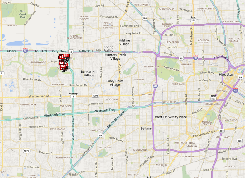 Rustling Pines Memorial Houston neighborhood map