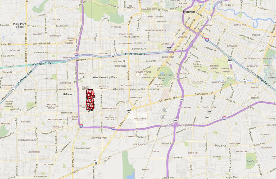 Southdale Houston map