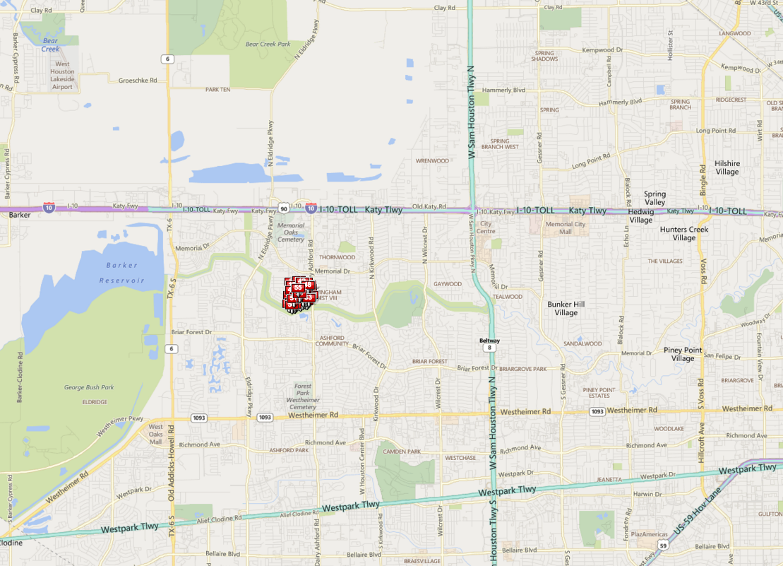 Westchester Memorial Houston map